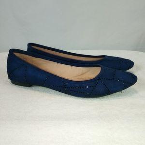 Zigi Soho blue flats black rhinestones size 11